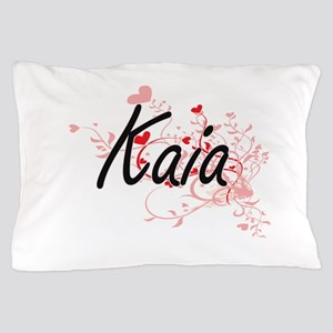 Kaia Artistic Name Design with Hearts Pillow Case