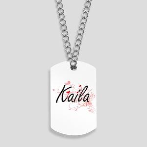 Kaila Artistic Name Design with Hearts Dog Tags