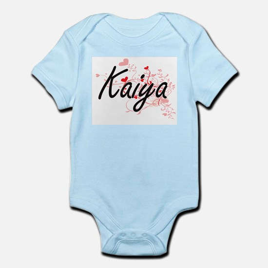 Kaiya Artistic Name Design with Hearts Body Suit