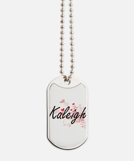 Kaleigh Artistic Name Design with Hearts Dog Tags