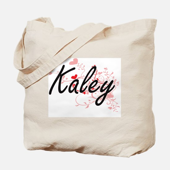Kaley Artistic Name Design with Hearts Tote Bag