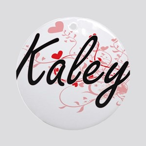Kaley Artistic Name Design with H Ornament (Round)
