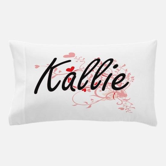 Kallie Artistic Name Design with Heart Pillow Case