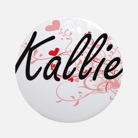Kallie Artistic Name Design with Ornament (Round)