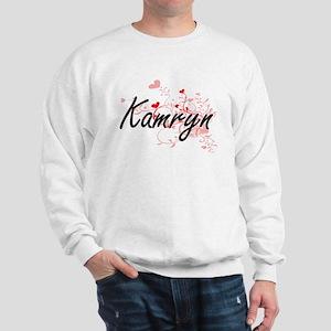 Kamryn Artistic Name Design with Hearts Sweatshirt