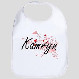 Kamryn Artistic Name Design with Hearts Bib