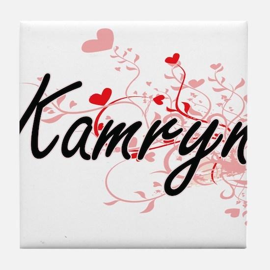 Kamryn Artistic Name Design with Hear Tile Coaster