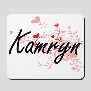 Kamryn Artistic Name Design with Hearts Mousepad