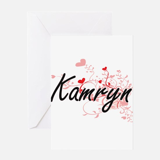 Kamryn Artistic Name Design with He Greeting Cards