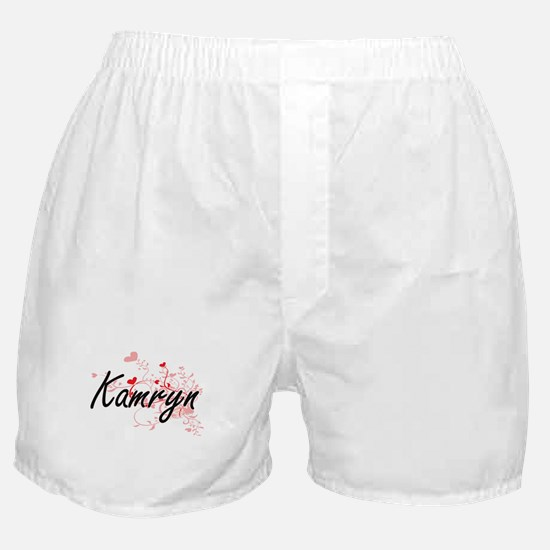Kamryn Artistic Name Design with Hear Boxer Shorts