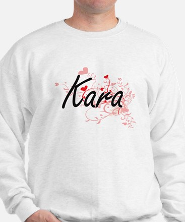 Kara Artistic Name Design with Hearts Sweater