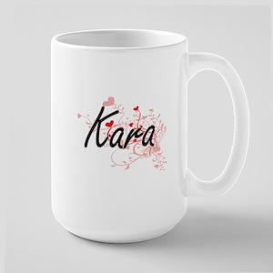 Kara Artistic Name Design with Hearts Mugs