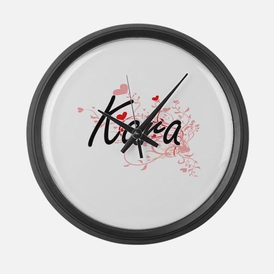 Kara Artistic Name Design with He Large Wall Clock