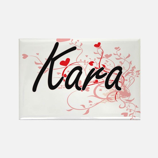 Kara Artistic Name Design with Hearts Magnets