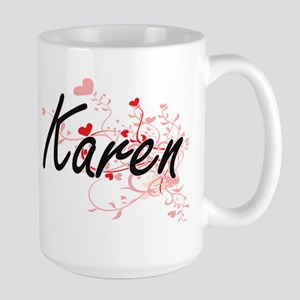Karen Artistic Name Design with Hearts Mugs