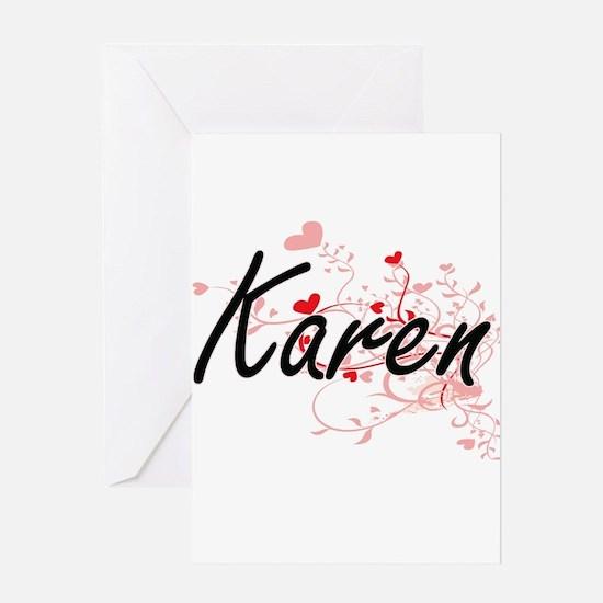 Karen Artistic Name Design with Hea Greeting Cards