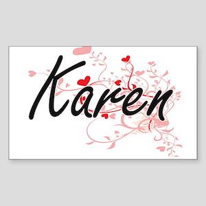 Karen Artistic Name Design with Hearts Sticker