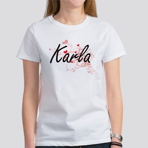 Karla Artistic Name Design with Hearts T-Shirt