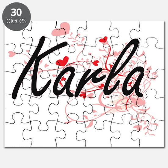 Karla Artistic Name Design with Hearts Puzzle