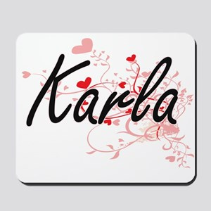 Karla Artistic Name Design with Hearts Mousepad