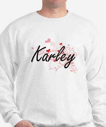 Karley Artistic Name Design with Hearts Sweater