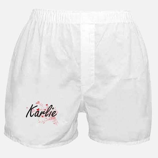 Karlie Artistic Name Design with Hear Boxer Shorts
