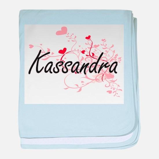 Kassandra Artistic Name Design with H baby blanket