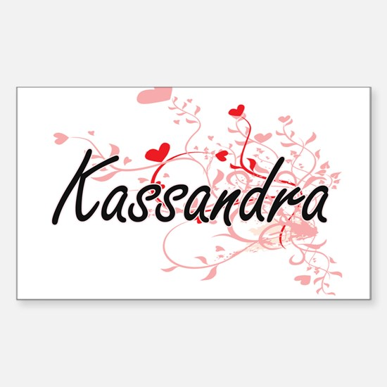 Kassandra Artistic Name Design with Hearts Decal
