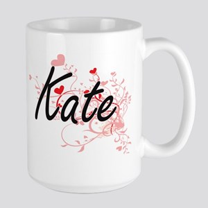 Kate Artistic Name Design with Hearts Mugs