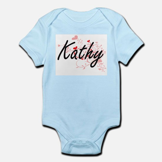 Kathy Artistic Name Design with Hearts Body Suit