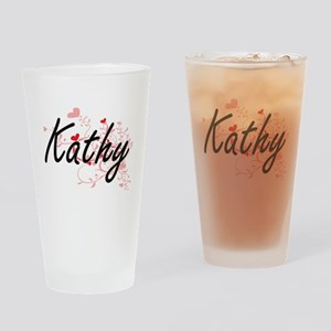 Kathy Artistic Name Design with Hea Drinking Glass
