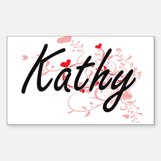 Kathy Artistic Name Design with Hearts Decal