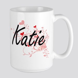 Katie Artistic Name Design with Hearts Mugs