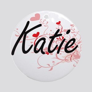 Katie Artistic Name Design with H Ornament (Round)