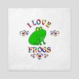 I Love Frogs Queen Duvet