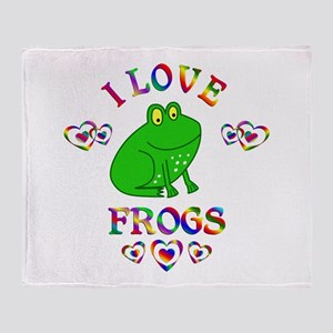 I Love Frogs Throw Blanket