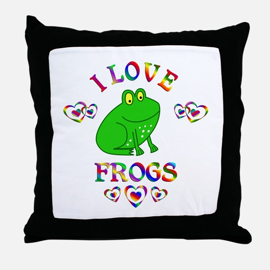 I Love Frogs Throw Pillow
