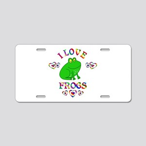 I Love Frogs Aluminum License Plate
