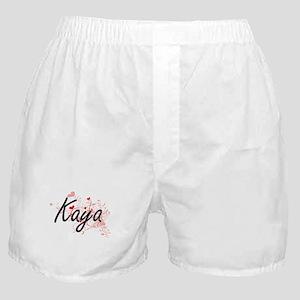 Kaya Artistic Name Design with Hearts Boxer Shorts