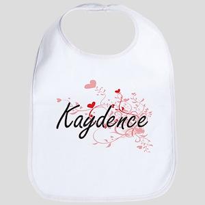 Kaydence Artistic Name Design with Hearts Bib