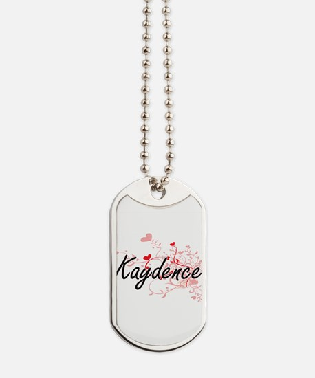Kaydence Artistic Name Design with Hearts Dog Tags