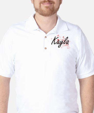 Kayla Artistic Name Design with Hearts Golf Shirt