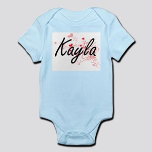 Kayla Artistic Name Design with Hearts Body Suit