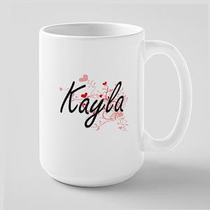 Kayla Artistic Name Design with Hearts Mugs