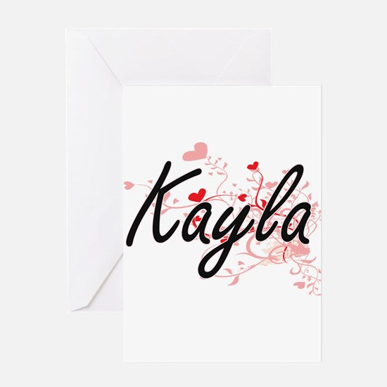 Kayla Artistic Name Design with Hea Greeting Cards