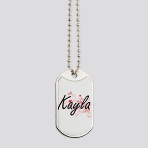 Kayla Artistic Name Design with Hearts Dog Tags