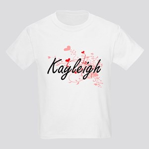 Kayleigh Artistic Name Design with Hearts T-Shirt