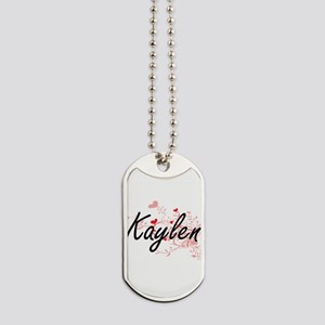 Kaylen Artistic Name Design with Hearts Dog Tags