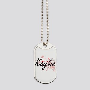 Kaylie Artistic Name Design with Hearts Dog Tags