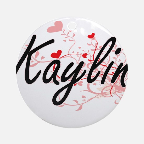 Kaylin Artistic Name Design with Ornament (Round)